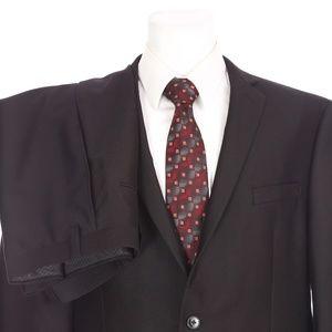 Calvin Klein Slim Fit 2 Button Solid Black Suit
